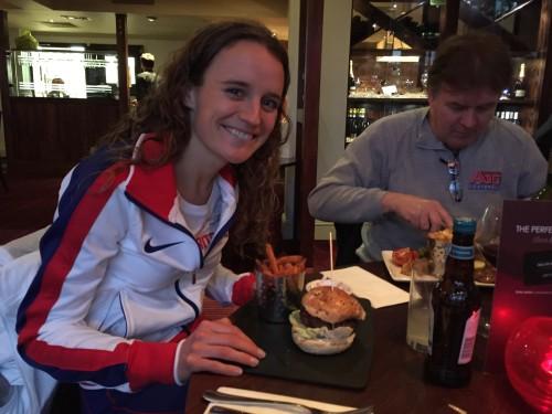 Tina Muir Burger Elite Runner Eat After Race