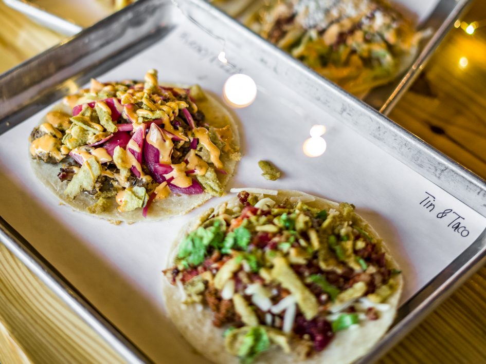 Four specialty tacos at Tin and Taco