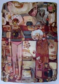 "Pink Underwear, mixed media on Terraskin Paper, image size 30 x 21"""