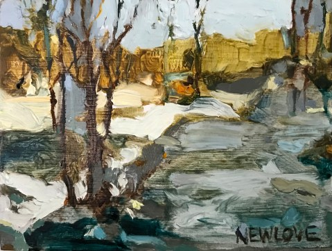 "Crossing the Ice, oil, 3 x 4"", 2021 Tina Newlove"