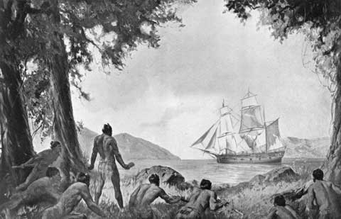 FIRST SIGHTING OF CAPTAIN COOK BY THE MAORI by Richard Wallwork