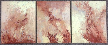 Crème Brûlée Triptych (acrylic on textured canvas, $100 each or $250 for the set)