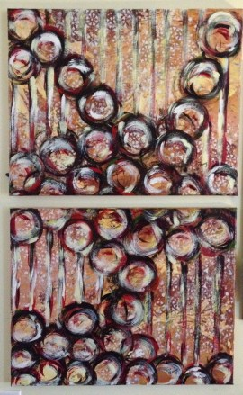 "Tumbling Marbles diptych (2 x 16""x20"", $400 for the set)"