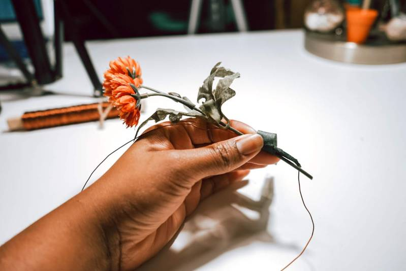 Placing Flowers onto a wire