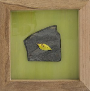 An intimate nature - Acrylic on slate by Tina Wilson, embedded in epoxy resin, handmade blackbutt frame