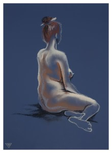 Life drawing example in pastel by artist Tina Wilson