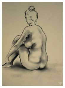 Life drawing example in charcoal by artist Tina Wilson