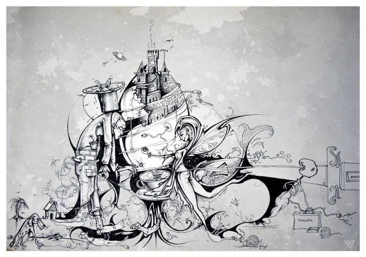 Surreal pen and ink drawing by artist Tina Wilson.