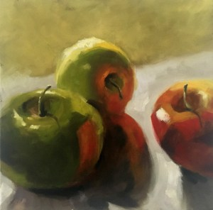 Still life oil painting of apples by artist Tina Wilson