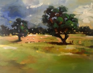 Plein air painting of a farm in Snake Valley by artist Tina Wilson