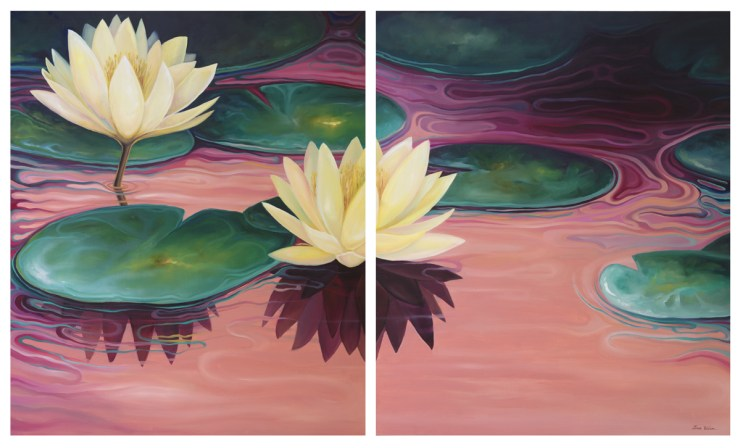 Oil painting by Tina Wilson of water lillies