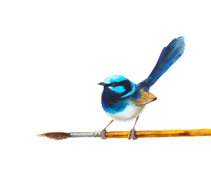 Watercolour painting of a blue wren by Tina Wilson