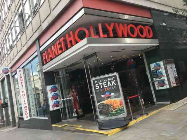 Planet Hollywood London - post show dining after London shows with kids