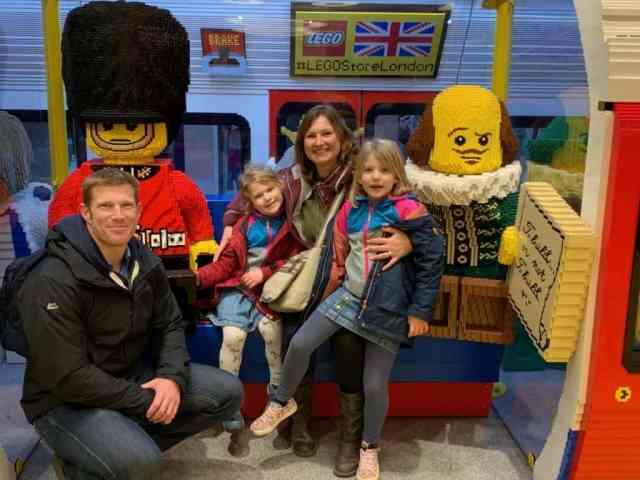 Tin Box family sat in Lego tube train in the Lego Store in London