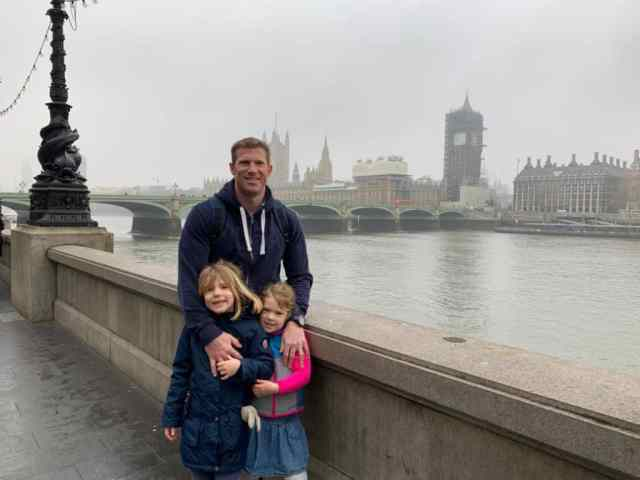 Tin Box family on South Bank overlooking Westminster in London - things to do in London with children