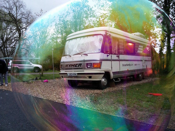 Our van in a bubble!
