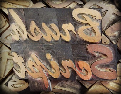 Brush Script Wood Type
