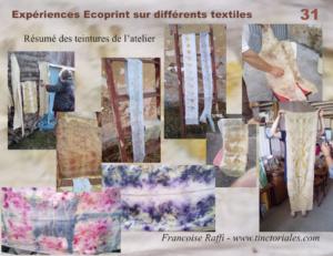 Formations Ecoprint à La Chapelle Blanche Saint Martin (Indre et Loire - France) à l'élevage de Chèvres Mohair et Atelier de Brigitte, le dmanche 27 août 2017
