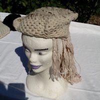 Béret hexagonal, mouton, blanc et gris, crochet