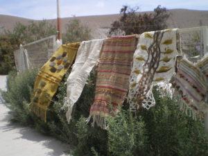 Mes tissages exposés à Mamiña, près des bains thermaux Ipla