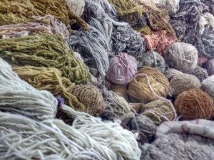 Petit échantillons de laines teintes naturelles attendant de rencontrer un métier à tisser