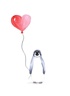 watercolor painting of a pinguin holding a red heart balloon