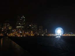 Seattle pier by night.