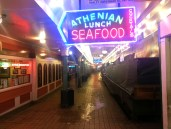 Pike Place market by night.