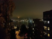 View of Lake Union from the Galer St. pedestrian bridge in Queen Anne (night)