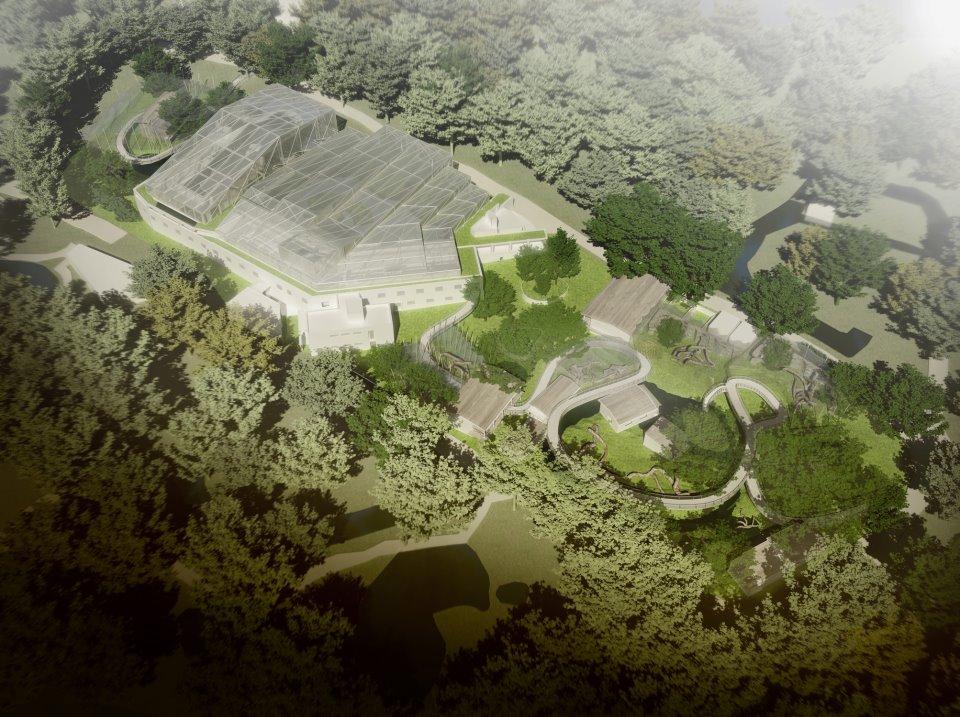 """Vizualizace ze souteze pavilonu velkych savcu na pavilon """"AMAZONIE"""" pro Zoo Praha"""