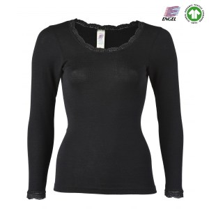 Merino uld trøje dame - Engel Natur - her i sort med blondekant