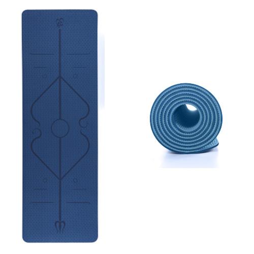 Yogamåtte med mønster - skridsikker overflade - TPE - her i blå - kr. 299