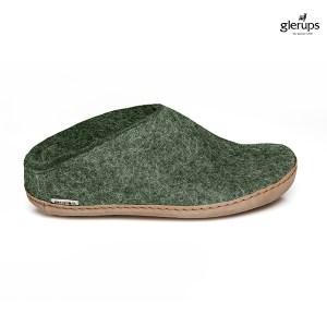Glerups tøffel grøn med lædersål. Kr. 500 med gratis fragt
