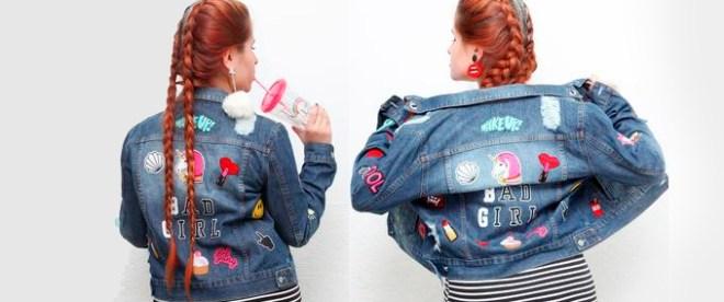 menina usando jaqueta com vários patches aplicados
