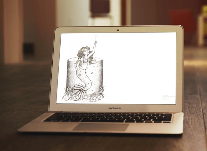 Simulação do papel de parede de computador com uma sereia quase encostando em um anzol.