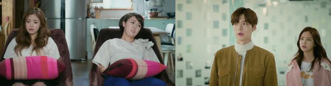 Primeira imagem com a madrasta e a irmã de Ha-won sentadas largadas em um sofá. Segunda imagem com Hyun-min dando de ombros para Hye-ji.