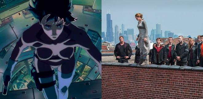 Últimos Cinco filmes: Imagens dos filmes Ghost in The Shell, de 1995, e Divergente.