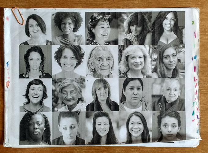 Vários rostos e mulheres diferentes para treinar formas e expressões