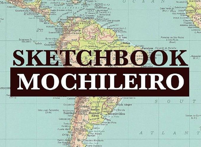 Capa escrita Sketchbook Mochileiro com mapa da América do Sul atrás
