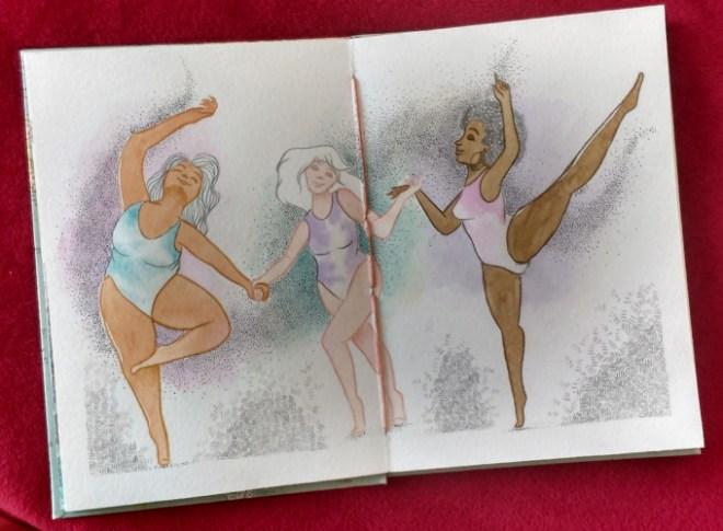 Desenho do sketchbook finalizado - três mulheres diferentes de mãos dadas em uma dança