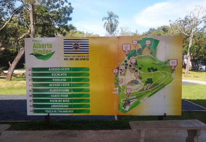 Mapa do parque Alberso Simões em São José dos Campos