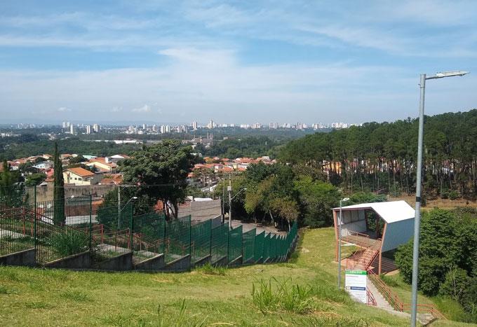 Vista de São José e cabine de onde sai a tirolesa - Parque Alberto Simões