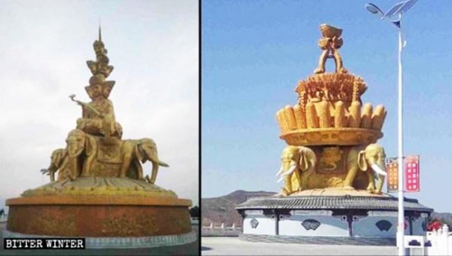 Image result for Tượng Bồ Tát Phổ Hiền bị đổi thành cây ngô và cây lúa, trở thành tượng