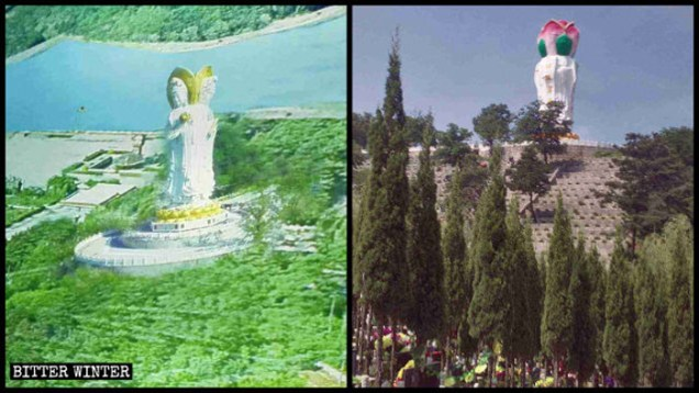 Bức tượng Quan Âm tứ diện cao 20m đã bị chỉnh sửa thành một bông hoa sen: 4 mặt của Quan Âm được chỉnh sửa thành 4 cánh hoa sen.