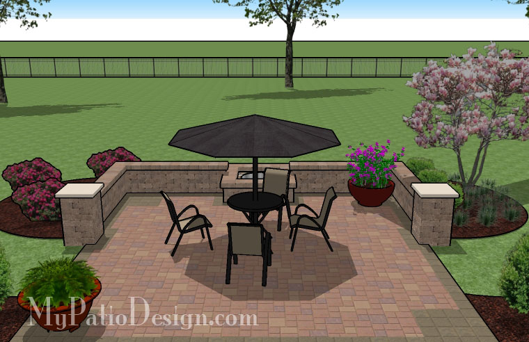 Fire Pit in Seating Wall Patio - TinkerTurf on Square Backyard Design Ideas id=27008
