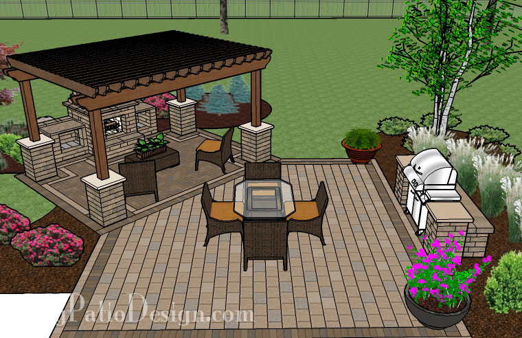 Pergola Covered Fireplace Patio - TinkerTurf on Square Patio Designs id=85671