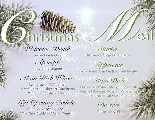 Christmas 2015 Meal and Drink Menu