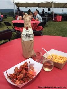 Our wine, crawfish and crawfish mac-and-cheese
