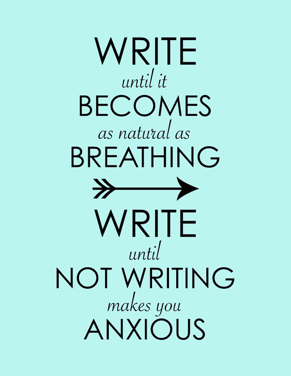 Not writing = anxiety