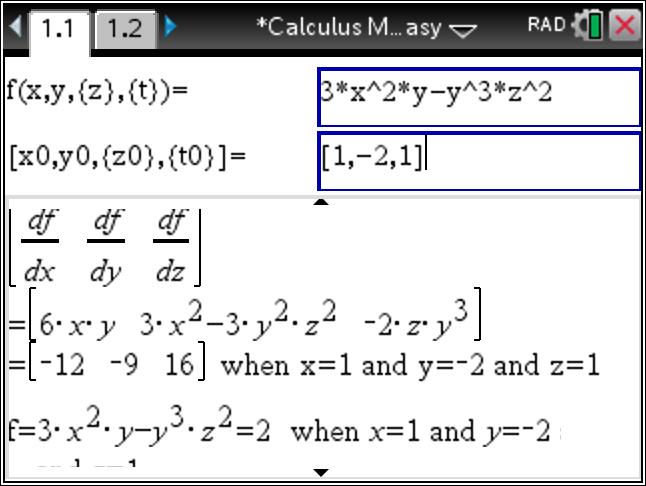 Tinspire CX : Finding Partial Derivatives and Gradient